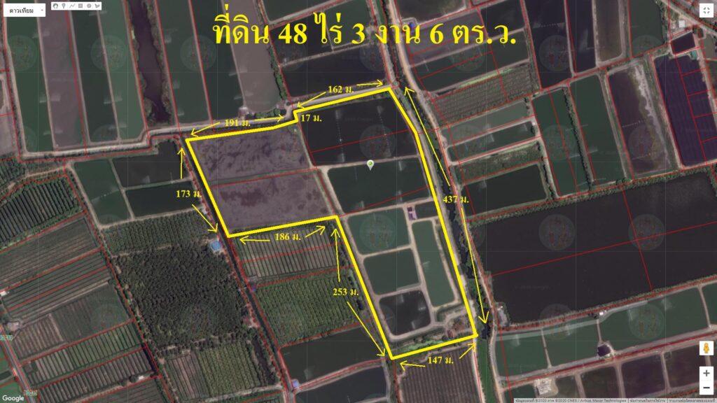 ขายที่ดิน 48 ไร่ 3 งาน 6 ตารางวา ตำบล ดอนใหญ่ พื้นที่สีเขียวอ่อน ติดถนนสองด้าน