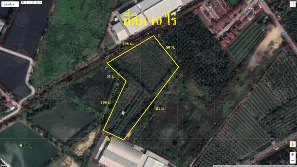 ขายที่ดิน 10 ไร่ พื้นที่สีชมพู ติดหมู่บ้านและโรงงาน ใกล้วัดเทียนดัด