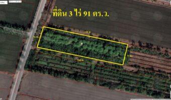 PH610 ขายที่ดิน 3 ไร่ 91 ตร.ว. จังหวัดนนทบุรี ติดถนนลาดยาง