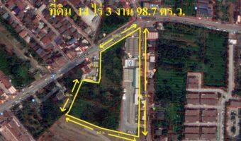 PH798 ขายที่ดินบางศรีเมือง นนทบุรี 14 ไร่ 3 งาน 98.7 ตร.ว. ติดถนนสาธารณะทั้ง 2 ด้าน