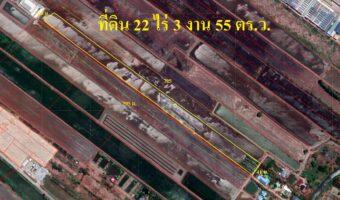 P14 ขายที่ดินผังสีม่วง ขนาดที่ดิน 22 ไร่ 3 งาน 55 ตารางวา ซอยตลาดปองพล จ.ฉะเชิงเทรา