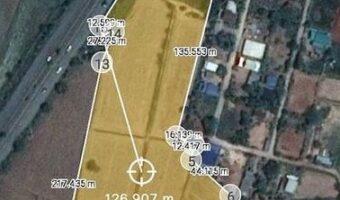 PH20 ขายที่ดิน 18 ไร่ 17 ตารางวาติดทางหลวงแผ่นดิน 201 ผังที่สีชมพู