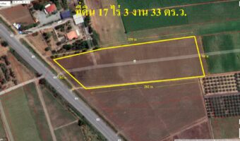 PH945 ขายที่ดินพื้นที่สีเขียว ถมแล้ว หน้ากว้างประมาณ 102 เมตร 17 ไร่ 3 งาน 33 ตารางวา