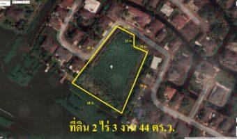 PH973 ขายที่ดินติดริมน้ำ เนื้อที่ 2 ไร่ 3 งาน 44 ตารางวา ในหมู่บ้าน ผังสีเหลือง