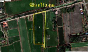 PH969 ขายที่ดินติดถนนติดคลอง 8 ไร่ 3 งาน ตำบลบางคูรัด ไฟฟ้าประปาถึงที่ดิน