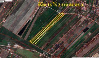PH808 ขายที่ดิน 16 ไร่กว่า หน้ากว้าง 40 ลาดหลุมแก้ว เหมาะทำบ้านจัดสรรหรือทำการเกษตร