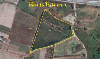 P137 ขายที่ดิน 16 ไร่ 34 ตร.ว. อ.เมือง จ.ชลบุรี ติดถนน 3 ด้าน ใกล้ศาลเจ้ากวนอู ไร่ไหหลำ
