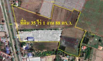 P193 ขายที่ดินพร้อมสิ่งปลูกสร้างจำนวน 35 ไร่ 1 งาน 88 ตารางวา อ.สามชุก จ.สุพรรณบุรี ติดถนนหลัก