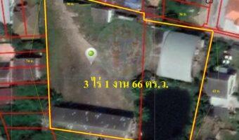 P198 ขายที่ดินพร้อมอู่รถ ขนาด 3 ไร่ 1 งาน 66 ตารางวา ตรงข้ามโลตัสวารินชำราบ อุบลราชธานี ผังสีชมพู