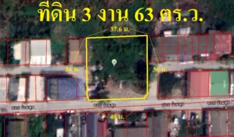 P233 ขายที่ดิน 3 งาน 63 ตร.ว. (ลำลูกกา-ธัญบุรี คลอง4) ทำเลสวยมาก ติดถนน 3 ด้าน