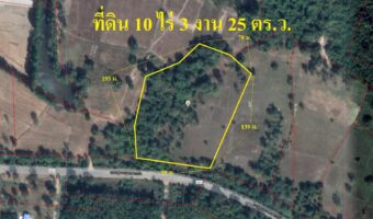 P234 ขายที่ดิน อำเภอกบินทร์บุรี 10 ไร่ 3 งาน 25 ตร.ว. ผังสีเหลือง ติดถนนสุวรรณศร