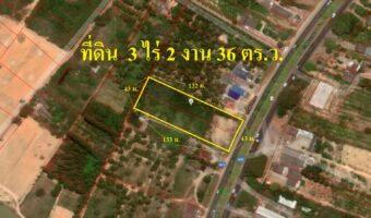 P247 ขายที่ดิน 3 ไร่ 2 งาน 36 ตร.ว. กุยบุรี ประจวบคีรีขันธ์ หน้าติดถนนหลังติดคลอง เหมาะทำธุรกิจ