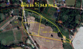 P225 ขายที่ดินเปล่าแปลงสวย 2 แปลง (ครุฑแดง) ขนาด 16 ไร่ 34.8 ตารางวา ใกล้ตลาดน้ำใกล้วัดหลวงพ่อโสธร