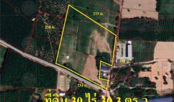 P270 ขายที่ดินปลวกแดง 30 ไร่ 30.3 ตารางวา ขนาดหน้ากว้างตลอดแนวถนน ผังเหลืองอ่อน ใกล้โครงการหมู่บ้าน