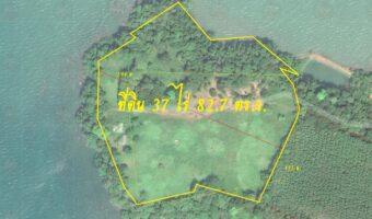 P331 ขายที่ดิน 37 ไร่ 82.7 ตร.ว. อ. แหลมงอบ จ. ตราด เป็นโฉนดนส. 4 ล้อมรอบด้วยทะเล 3 ด้าน สวยจริงๆค่ะแปลงนี้มีสตังค์ซื้อไว้ไม่ผิดหวังแน่นอน ฝั่งตรงข้ามเป็นเกาะช้าง